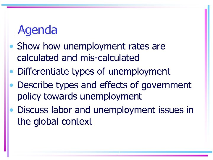 Agenda • Show unemployment rates are calculated and mis-calculated • Differentiate types of unemployment