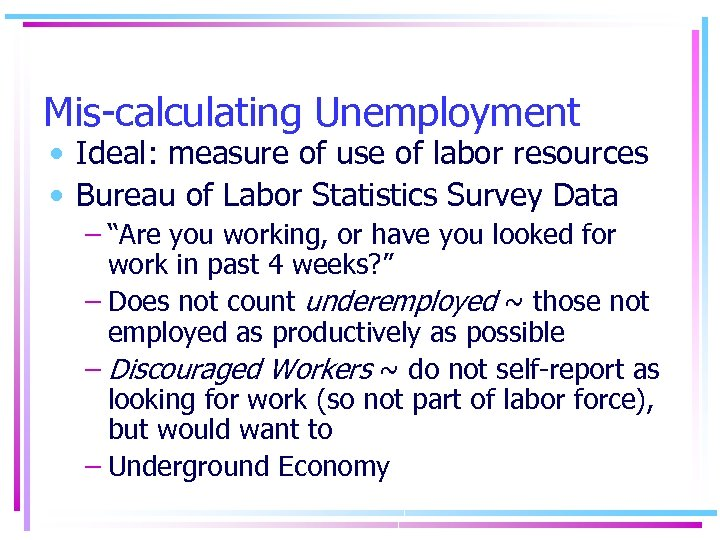 Mis-calculating Unemployment • Ideal: measure of use of labor resources • Bureau of Labor