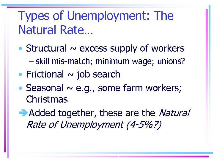 Types of Unemployment: The Natural Rate… • Structural ~ excess supply of workers –