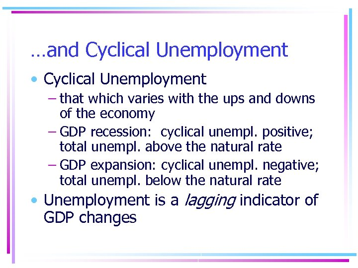…and Cyclical Unemployment • Cyclical Unemployment – that which varies with the ups and