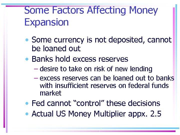 Some Factors Affecting Money Expansion • Some currency is not deposited, cannot be loaned