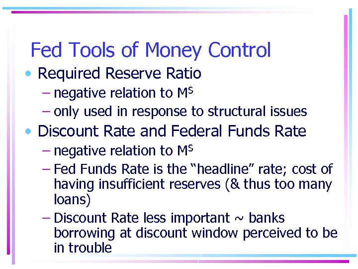 Fed Tools of Money Control • Required Reserve Ratio – negative relation to MS