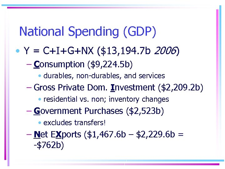 National Spending (GDP) • Y = C+I+G+NX ($13, 194. 7 b 2006) – Consumption