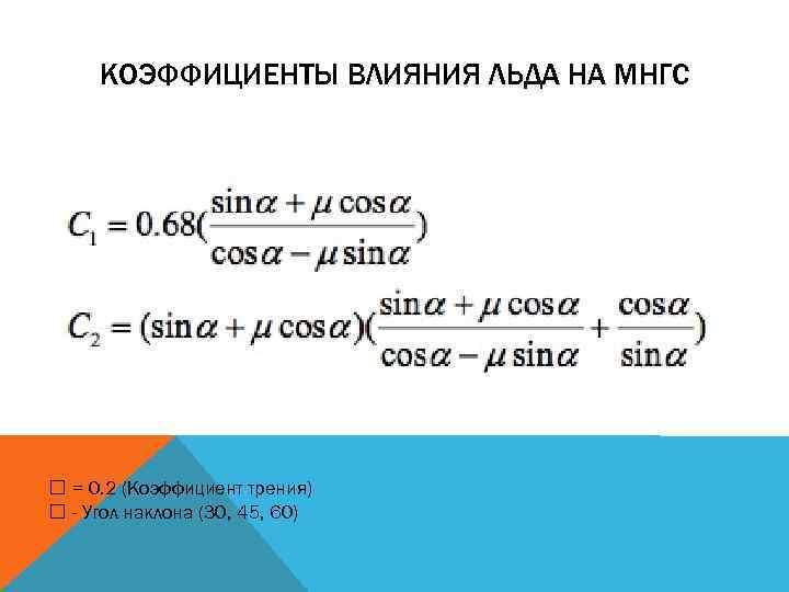КОЭФФИЦИЕНТЫ ВЛИЯНИЯ ЛЬДА НА МНГС = 0. 2 (Коэффициент трения) - Угол наклона (30,