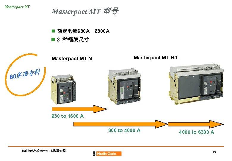 Masterpact MT 型号 n 额定电流630 A-6300 A n 3 种框架尺寸 Masterpact MT N Masterpact