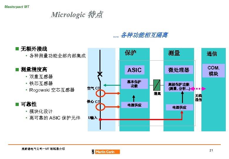 Masterpact MT Micrologic 特点 … 各种功能相互隔离 n 无额外接线 保护 • 各种测量功能全部内部集成 n 测量精度高 •