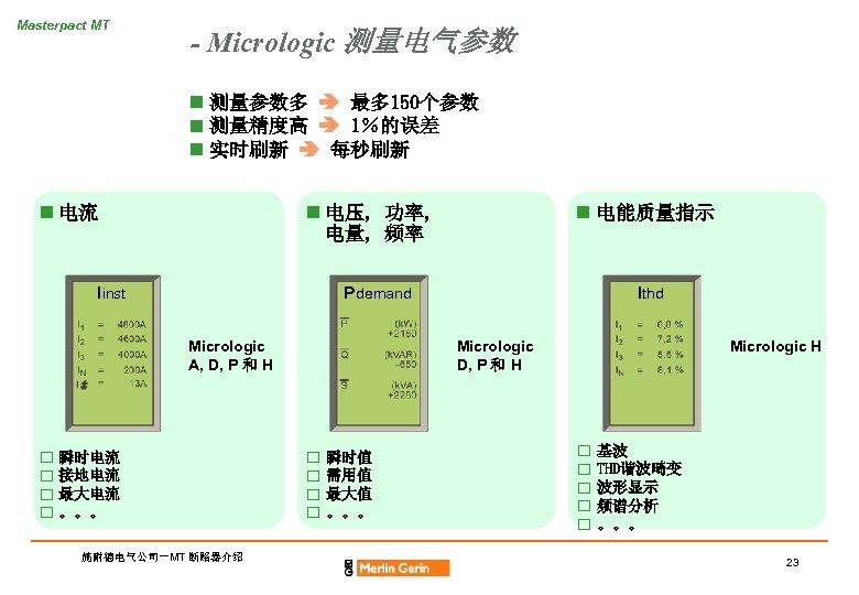 Masterpact MT - Micrologic 测量电气参数 n 测量参数多 最多 150个参数 n 测量精度高 1%的误差 n 实时刷新