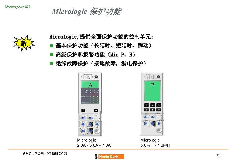 Masterpact MT Micrologic 保护功能 Micrologic, 提供全面保护功能的控制单元: 新 n 基本保护功能(长延时、短延时、瞬动) n 高级保护和报警功能(Mic P,H) n 绝缘故障保护(接地故障,漏电保护)