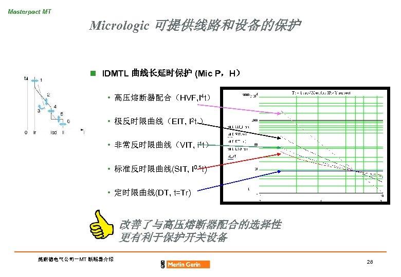 Masterpact MT Micrologic 可提供线路和设备的保护 n IDMTL 曲线长延时保护 (Mic P,H) • 高压熔断器配合(HVF, I 4 t)