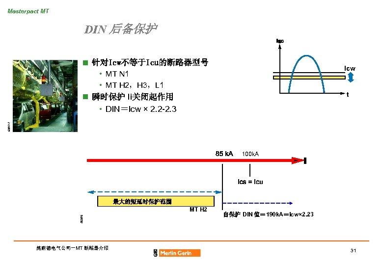 Masterpact MT DIN 后备保护 n 针对Icw不等于Icu的断路器型号 Icw 63047 -7 • MT N 1 •