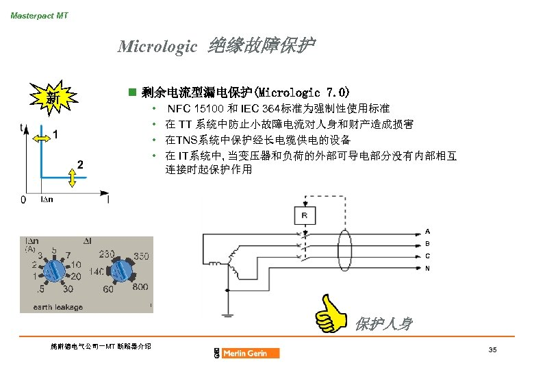 Masterpact MT Micrologic 绝缘故障保护 新 n 剩余电流型漏电保护(Micrologic 7. 0) • • NFC 15100 和