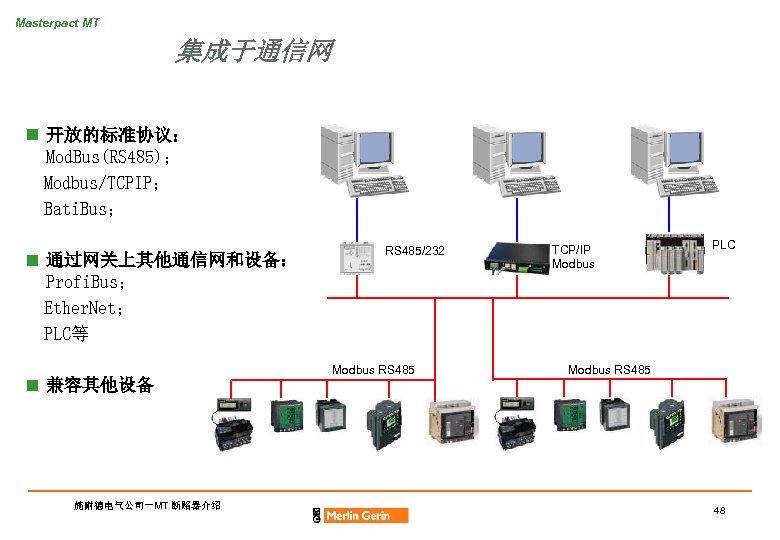 Masterpact MT 集成于通信网 n 开放的标准协议: Mod. Bus(RS 485); Modbus/TCPIP; Bati. Bus; n 通过网关上其他通信网和设备: Profi.