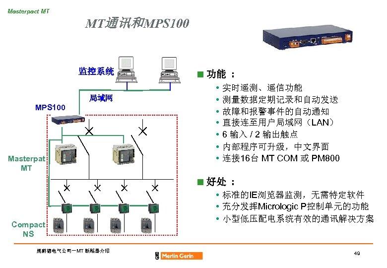 Masterpact MT MT通讯和MPS 100 监控系统 局域网 MPS 100 Masterpat MT n 功能 : •