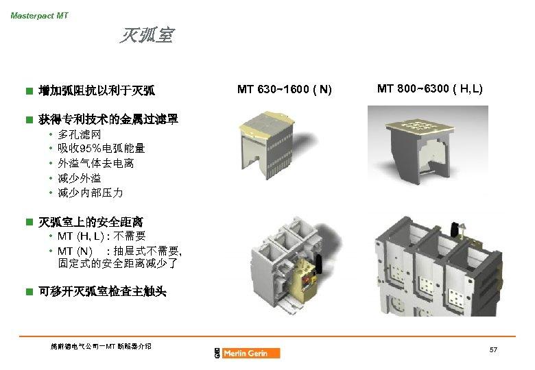 Masterpact MT 灭弧室 n 增加弧阻抗以利于灭弧 MT 630~1600 ( N) MT 800~6300 ( H, L)