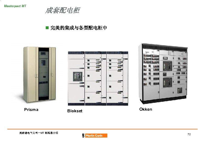 Masterpact MT 成套配电柜 n 完美的集成与各型配电柜中 Prisma 施耐德电气公司-MT 断路器介绍 Blokset Okken 72