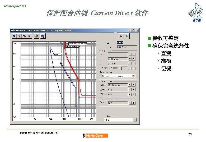 Masterpact MT 保护配合曲线 Current Direct 软件 设计院 n 参数可整定 n 确保完全选择性 • 直观 •
