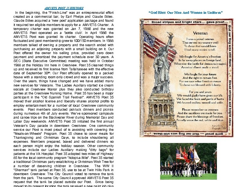 AMVETS POST 35 HISTORY In the beginning, the