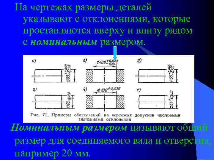 На чертежах размеры деталей указывают с отклонениями, которые проставляются вверху и внизу рядом с