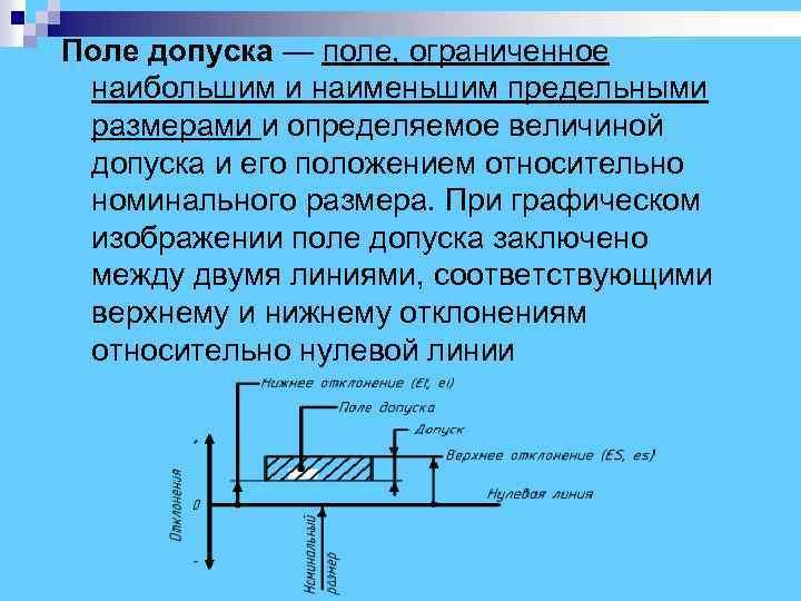 Поле допуска — поле, ограниченное наибольшим и наименьшим предельными размерами и определяемое величиной допуска