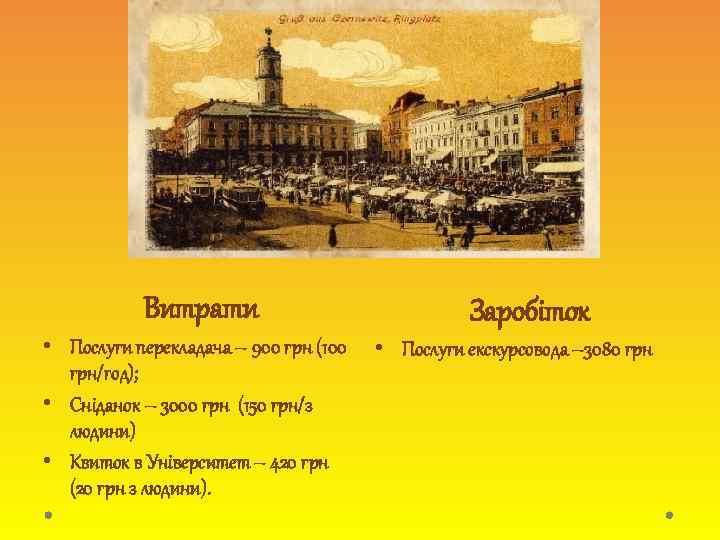 Витрати • Послуги перекладача – 900 грн (100 грн/год); • Сніданок – 3000 грн