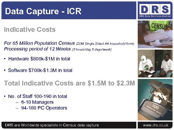 Data Capture - ICR Indicative Costs For 65 Million Population Census (20 M Single