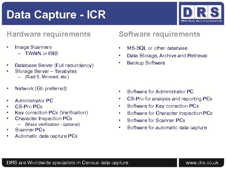 Data Capture - ICR Hardware requirements Software requirements • Image Scanners – TWAIN or