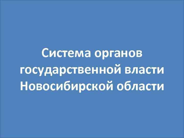 Система органов государственной власти Новосибирской области