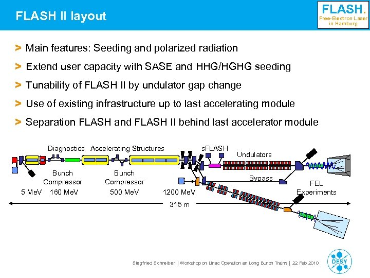 FLASH. FLASH II layout Free-Electron Laser in Hamburg > Main features: Seeding and polarized