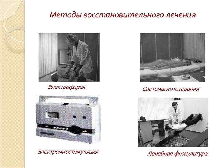 Методы восстановительного лечения Электрофорез Электромиостимуляция Светомагнитотерапия Лечебная физкультура