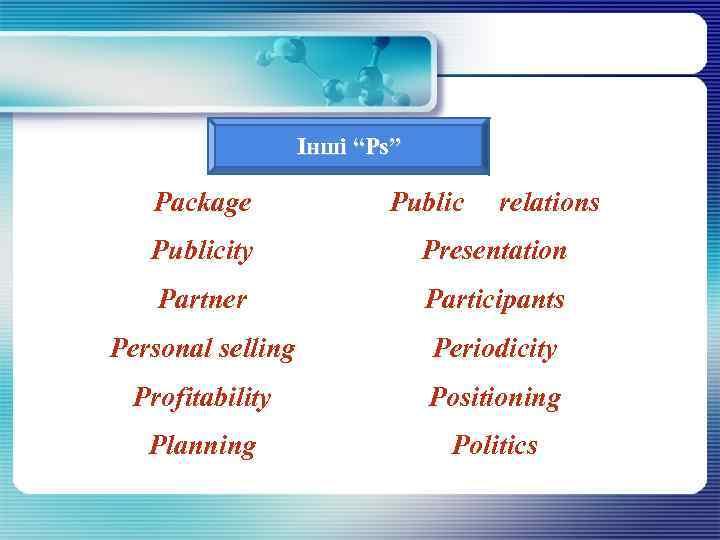 "Інші ""Рs"" Package Рublicity Partner Рersonal selling Public relations Presentation Participants Periodicity Рrofitability Рositioning"