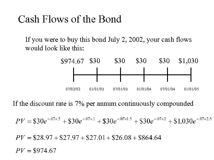Cash Flows of the Bond If you were to buy this bond July 2,