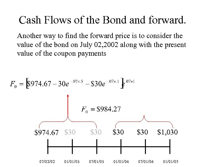 Cash Flows of the Bond and forward. Another way to find the forward price