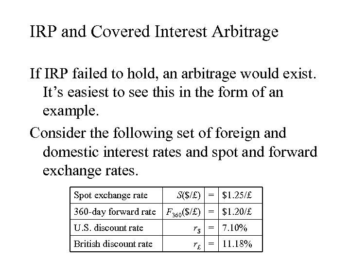 IRP and Covered Interest Arbitrage If IRP failed to hold, an arbitrage would exist.