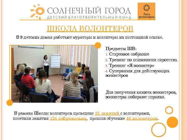 ШКОЛА ВОЛОНТЕРОВ В 9 детских домах работают кураторы и волонтеры на постоянной основе. Предметы