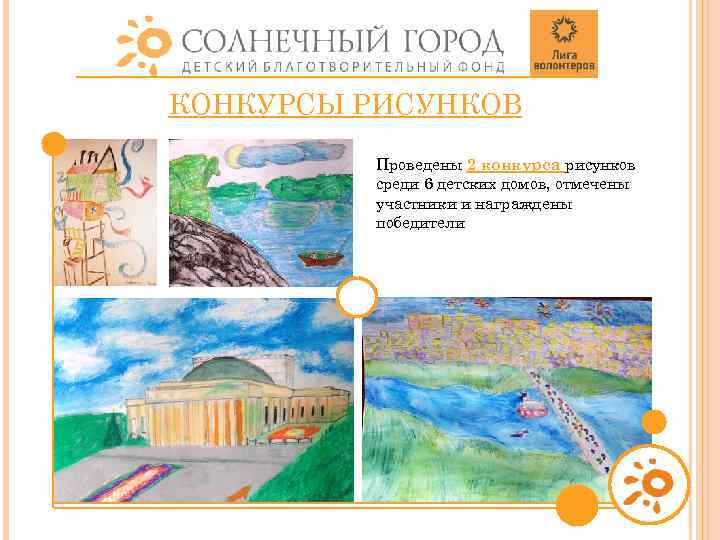 КОНКУРСЫ РИСУНКОВ Проведены 2 конкурса рисунков среди 6 детских домов, отмечены участники и награждены