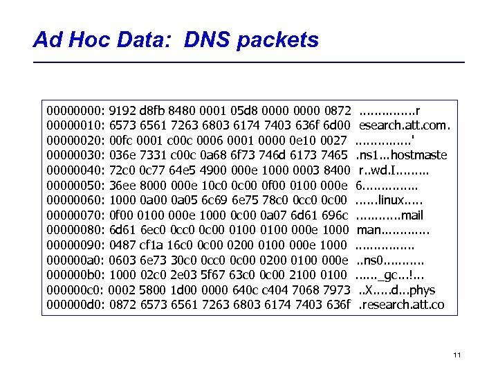 Ad Hoc Data: DNS packets 0000: 9192 d 8 fb 8480 0001 05 d