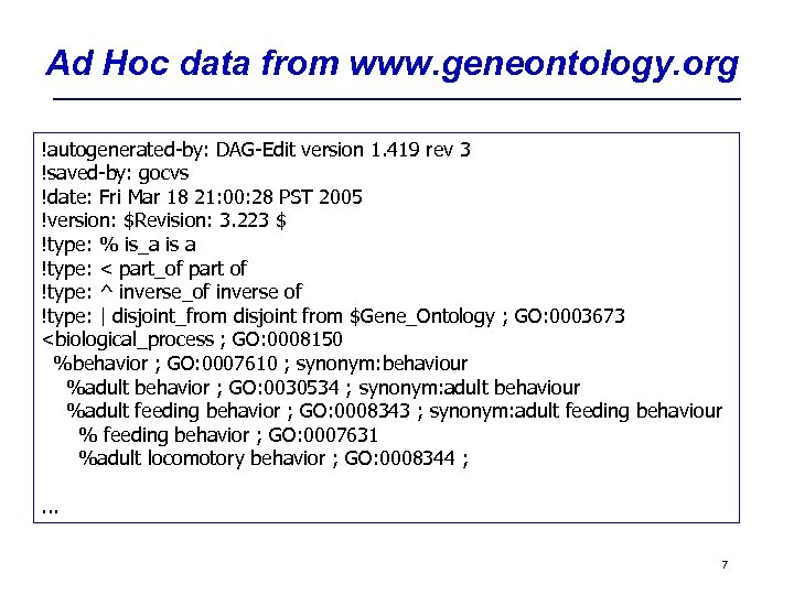 Ad Hoc data from www. geneontology. org !autogenerated-by: DAG-Edit version 1. 419 rev 3
