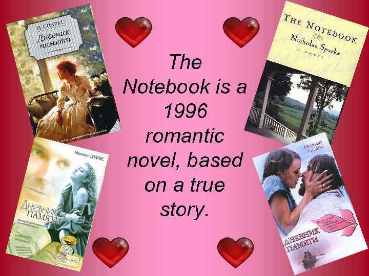 The Notebook is a 1996 romantic novel, based on a true story.