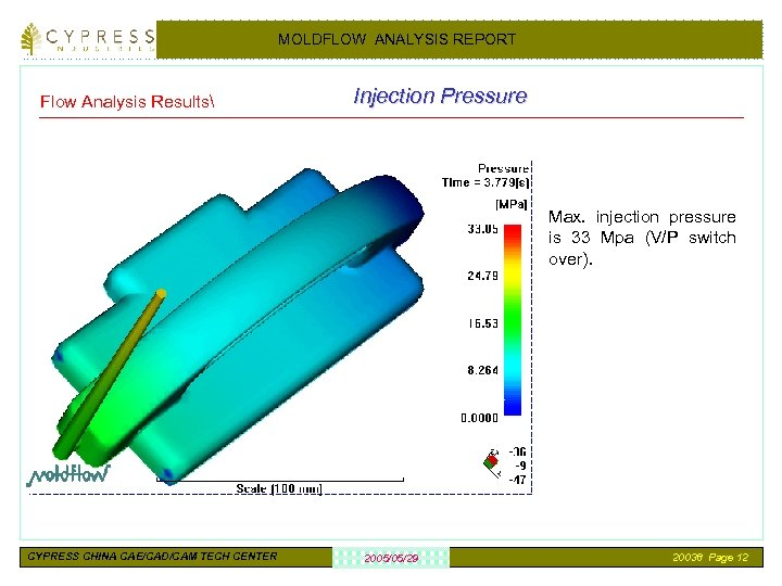 MOLDFLOW ANALYSIS REPORT Flow Analysis Results Injection Pressure Max. injection pressure is 33 Mpa