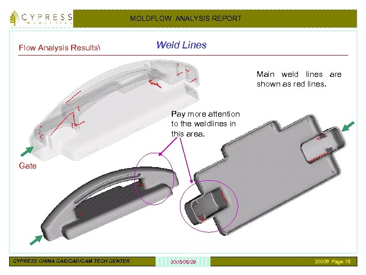 MOLDFLOW ANALYSIS REPORT Flow Analysis Results Weld Lines Main weld lines are shown as
