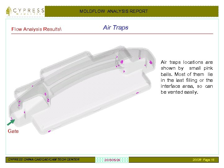MOLDFLOW ANALYSIS REPORT Flow Analysis Results Air Traps Air traps locations are shown by