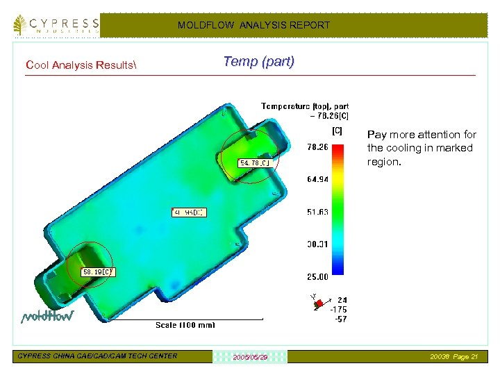 MOLDFLOW ANALYSIS REPORT Cool Analysis Results Temp (part) Pay more attention for the cooling