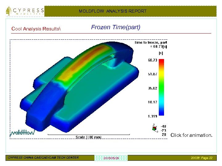 MOLDFLOW ANALYSIS REPORT Cool Analysis Results Frozen Time(part) Click for animation. CYPRESS CHINA CAE/CAD/CAM