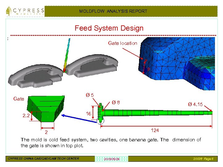 MOLDFLOW ANALYSIS REPORT Feed System Design Gate location 9 Gate 2. 2 Ø 5