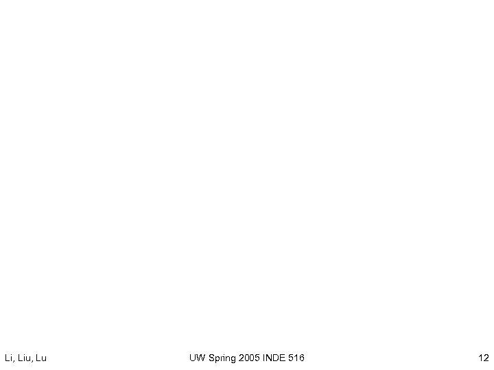 Li, Liu, Lu UW Spring 2005 INDE 516 12
