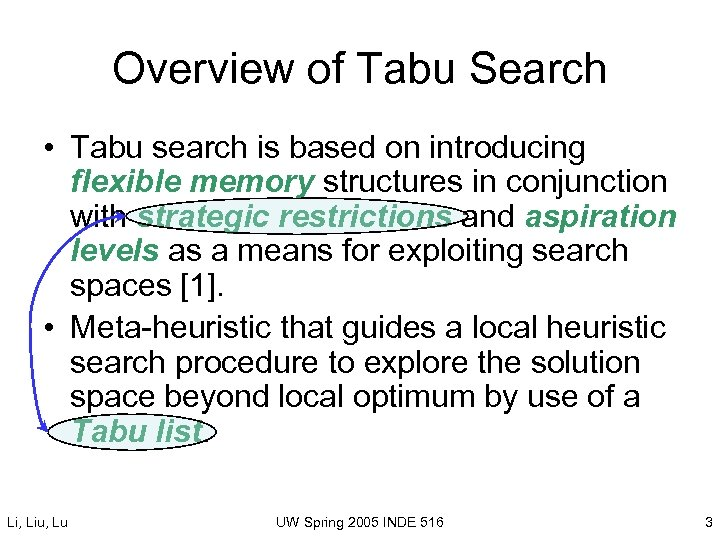 Overview of Tabu Search • Tabu search is based on introducing flexible memory structures