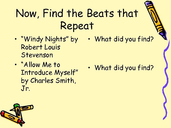 """Now, Find the Beats that Repeat • """"Windy Nights"""" by Robert Louis Stevenson •"""