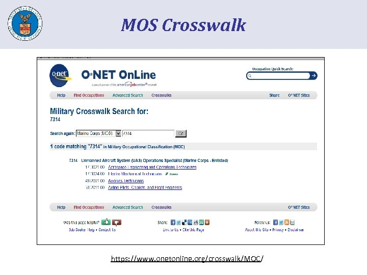 MOS Crosswalk https: //www. onetonline. org/crosswalk/MOC/