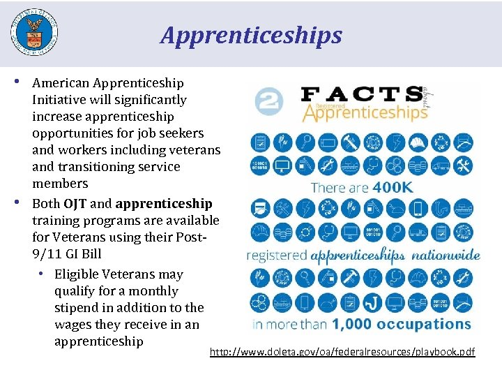 Apprenticeships • • American Apprenticeship Initiative will significantly increase apprenticeship opportunities for job seekers