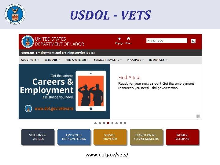 USDOL - VETS www. dol. gov/vets/